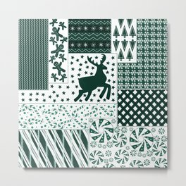Holiday Green Quilt Design Metal Print