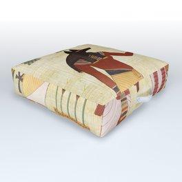 egyptian design man woman priest Outdoor Floor Cushion