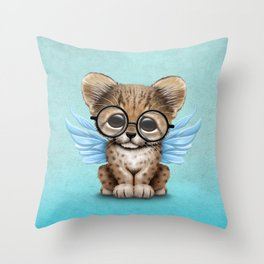 Cheetah Cub with Fairy Wings Wearing Glasses on Blue Throw Pillow