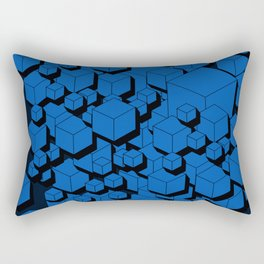 3D Cobalt blue Cubes Rectangular Pillow