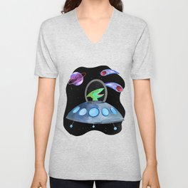 Dinosaur Astronauts In Space Pink Watercolor Pattern Unisex V-Neck