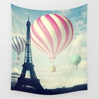 hot air balloons Wall Tapestries featuring Hot Air Balloons in Paris by Marianna Mills