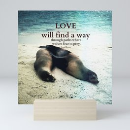 Love romantic quote sea lion, beach cute Mini Art Print