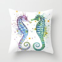 seahorse Throw Pillows featuring Seahorse by Sam Nagel