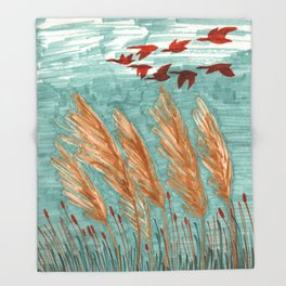 Geese Flying over Pampas Grass Throw Blanket