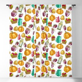 Autumn  Pattern with Food and Drink and Lamp Blackout Curtain