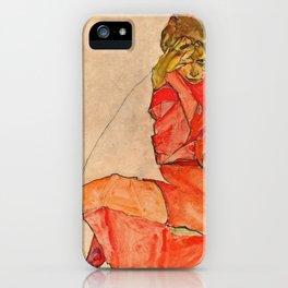 Egon Schiele - Kneeling Female In Orange Red Dress iPhone Case