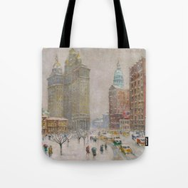 City Hall Park, The New York Scene, NYC skyline winter landscape painting by Guy Carleton Wiggins Tote Bag