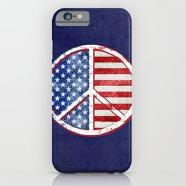 Watercolor Patriot Peace Symbol Stars and Stripes USA Flag iPhone Case