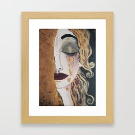Woman in gold, Painting, Acrylic, The kiss, Kiss, Klimt inspired, Golden age Framed Art Print
