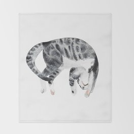 Yoga cat Throw Blanket
