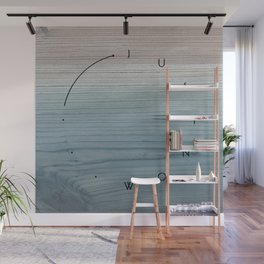 'Just now…' in weathered blue stain Wall Mural