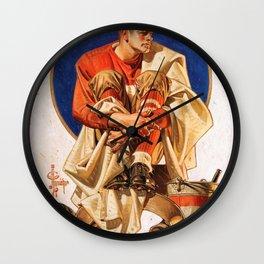 Joseph Christian Leyendecker - Rugby Hero - Digital Remastered Edition Wall Clock