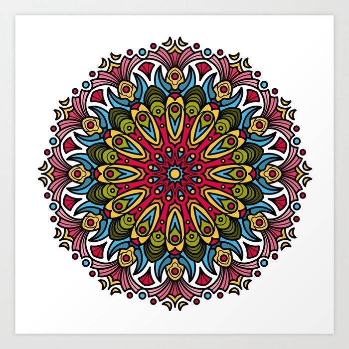 Primitive Colorful Mandala Art Print By Greissdesign