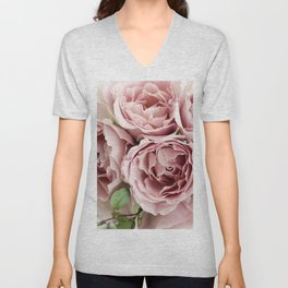 Marvelous Beautiful Corsage Pink Roses Blossoms Close Up Ultra HD Unisex V-Neck
