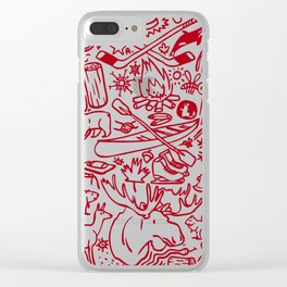 Maple Leaf - red Clear iPhone Case