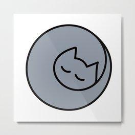 Lap Cat Gray Metal Print