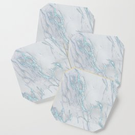 Marble Love Sea Blue Metallic Coaster