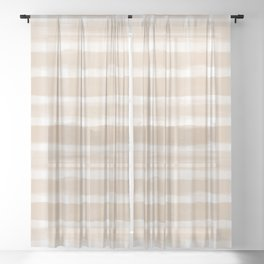 Ligonier Tan SW 7717 Watercolor Brushstroke Plaid Pattern on White Sheer Curtain