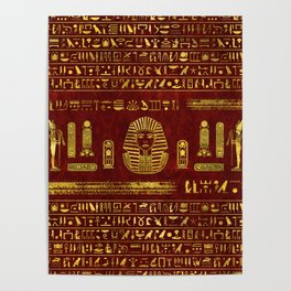 Golden Egyptian Sphinx on red leather Poster