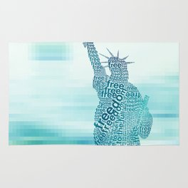 Typographic Statue of Liberty - Aqua Blue Rug