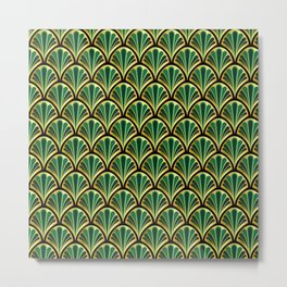 Vintage seashell tapestry - Royal Green Metal Print