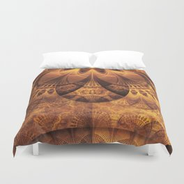 Beautiful Gold and Brown Honeycomb Fractal BeeHive Duvet Cover