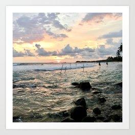 Sunset Crashing Waves and Fishermen Art Print