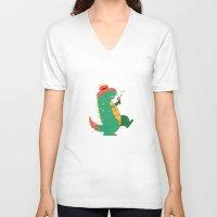 godzilla V-neck T-shirts featuring Godzilla by cezra