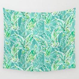 LEAFY ABUNDANCE Green Banana Leaf Print Wall Tapestry