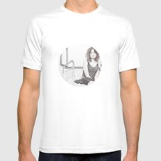 closed eyes - woman dotwork portrait White Mens Fitted Tee MEDIUM