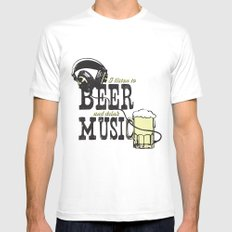 I Listen to Beer and Drink Music Mens Fitted Tee White MEDIUM