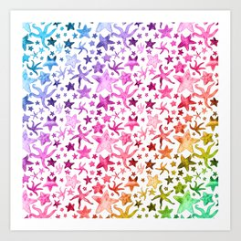 Rainbow Starfish Pattern Art Print