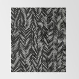 Herringbone Cream on Black Throw Blanket