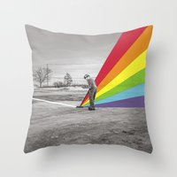 floyd Throw Pillows featuring Mr. Floyd by Blaz Rojs