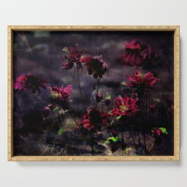 Mes ancolie - Aquilegia dark floral Serving Tray