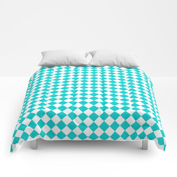 Small Diamonds - White and Cyan Comforters