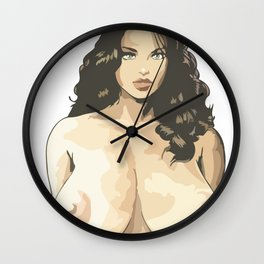 boobs girl chick sexy hot nasty tits nude naked bed mouth skirt hair wow Wall Clock