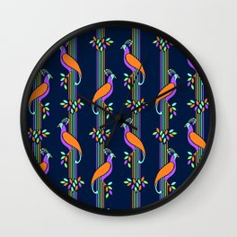 Vintage Art Deco Birds and Stripes Pattern Wall Clock