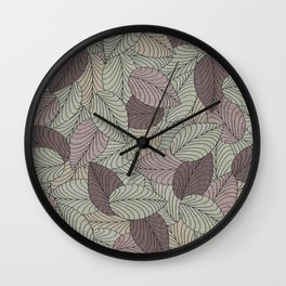 Vector Seamless Leaves Pattern II Wall Clock