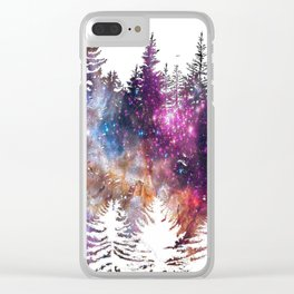 Starry Trees Forest Clear iPhone Case