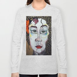 Floral Lady Painting Golden Activation Codes Long Sleeve T-shirt
