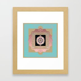 Rose Gold and Muted Turquoise Lakshmi Soul Mandala Framed Art Print