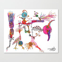 Funky Wondering Birds Canvas Print