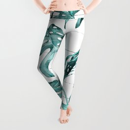 Turquoise Palm Leaves on White Wood Leggings