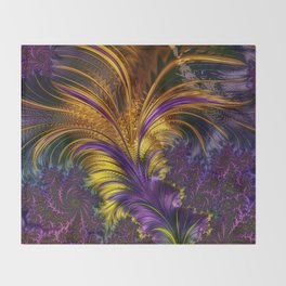 Fractal feather Throw Blanket