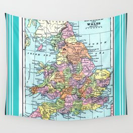 Vintage Map  of England and Wales Wall Tapestry