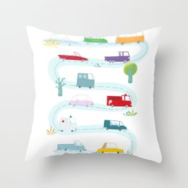 Cute Cars Print Throw Pillow
