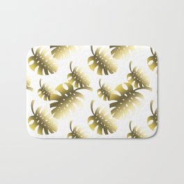 Modern gold color tropical cheese leaves pattern Bath Mat