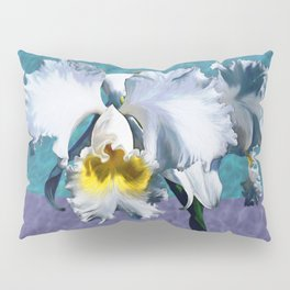 White Orchid Over Water Pillow Sham